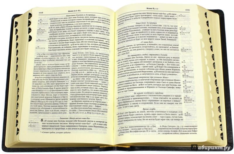 Иллюстрация 1 из 23 для Библия в Синодальном переводе с комментариями (черная в футляре) | Лабиринт - книги. Источник: Лабиринт