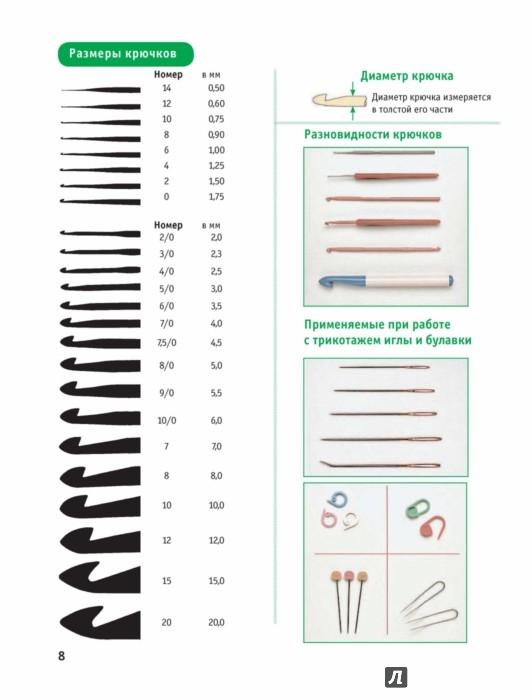 Диаметры крючков для вязания 744
