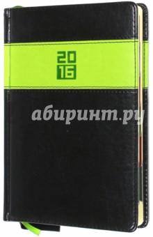 Ежедневник датированный на 2016 год (ЧЕРНЫЙ/САЛАТОВЫЙ) (37967-15)