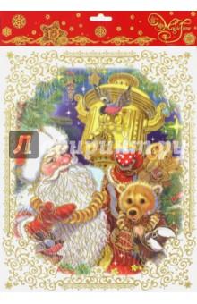 Украшение новогоднее оконное (38627)Новогодние сувениры<br>Украшение новогоднее оконное.<br>Размер: 30 х 38 см.<br>Материал: ПВХ-пленка.<br>Декорировано глиттером.<br>Упаковка: блистер.<br>Сделано в Тайване.<br>