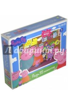 Пазл-35 super-maxi Peppa Pig. Магазин игрушек (01545)Пазлы (15-50 элементов)<br>Карточки с пазловым замком. <br>35 элементов.<br>Материал: картон.<br>Упаковка6 картонная коробка.<br>Для детей от 3 лет.<br>Сделано в России.<br>