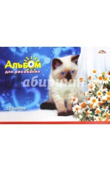 """Альбом для рисования """"Голубоглазый котенок"""" (12 листов) (С0223-34) АппликА"""