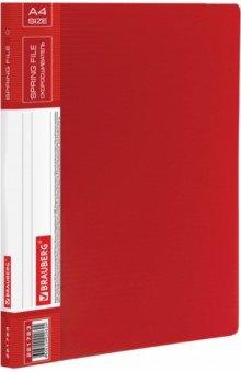 Папка с металлическим скоросшивателем и внутренним карманом, красная (221783) Brauberg