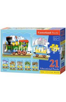 Puzzle-21 Паровозик (Е-135)Пазлы (15-50 элементов)<br>Обучающий пазл-мозаика.<br>21 элемент.<br>Размер: 117 х 15 см.<br>Материал: картон.<br>Упаковка: картонная коробка.<br>Для детей от 4 лет.<br>Сделано в Польше.<br>