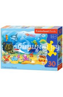 Puzzle-30 CONTOUR Подводные друзья (В-03501)Пазлы (15-50 элементов)<br>Контурный пазл-мозаика.<br>30 элементов.<br>Размер собранной картинки 32 х 32 см.<br>Материал: картон.<br>Упаковка: картонная коробка.<br>Для детей от 4 лет.<br>Сделано в Польше.<br>