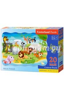 Puzzle-20 MAXI Животные Африки (С-02276)Пазлы (15-50 элементов)<br>Пазл-мозаика MAXI.<br>20 элементов.<br>Размер собранной картинки 59 х 40 см.<br>Материал: картон.<br>Упаковка: картонная коробка.<br>Для детей от 4 лет.<br>Сделано в Польше.<br>