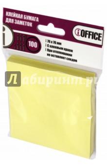 Клейкая бумага для заметок, 76*76 мм, 100 листов, желтая (I-7676-02) iOFFICE