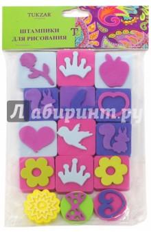 Набор штампиков для рисования (TZ 13033)Сопутствующие товары для детского творчества<br>Набор штампиков для рисования.<br>15 штук.<br>Материал: ЭВА.<br>Упаковка: блистер.<br>Сделано в Китае.<br>
