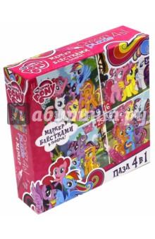Пазл 4 в 1 My Little Pony + маркер с блестками (02104)Наборы пазлов<br>Пазлы развивают мелкую моторику, усидчивость ребенка. <br>В наборе 4 пазла.<br>Кол-во элементов: 9, 16, 25, 36.<br>Размер собранной картинки: 15х15 см.<br>Правила игры: вскрыть упаковку и собрать игру по картинке.<br>Для детей старше 3-х лет.<br>Не давать детям до 3-х лет из-за наличия мелких деталей.<br>Состав: бумага, картон.<br>Упаковка: картонная коробка.<br>Сделано в России.<br>