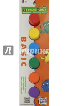 Набор акриловых красок с кисточкой, 6 штук по 4,5 мл (60764) KriBly Boo