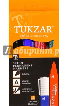 Набор маркеров перманентных, 4 цвета (TZ 420-4K) TUKZAR
