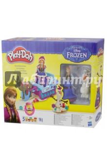 Набор пластилина Play-Doh Холодное Сердце (В1860Н)Наборы для лепки с игровыми элементами<br>Набор пластилина Play-Doh Приключения холодного сердца от американской компании Hasbro позволит вашему ребенку окунуться в атмосферу этого мультфильма от студии Disney! В наборе ваш ребенок найдет все необходимое для увлекательного и интересного игрового процесса. Он также может разыгрывать сценки из мультфильма Холодное сердце и придумывать собственный сюжет!<br>Пластилин Play-Doh создан из пищевых компонентов, благодаря чему он абсолютно безопасен для здоровья маленьких детей. Кроме того, пластилин не липнет к рукам, не оставляет следов на одежде, а также имеет приятный запах.<br>Комплект: фигурка принцессы Эльзы, фигурка снеговика Олафа, сани с оленем Свеном, 5 баночек пластилина Play-Doh, аксессуары.<br>Материал: пластилин, пластмасса.<br>Упаковка: картонная коробка.<br>Для детей от 3 лет.<br>Сделано в Китае.<br>