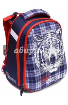Ранец школьный Тигр на шотландке (40082)Ранцы и рюкзаки для начальной школы<br>Школьный ранец имеет:<br>- 1 большое отделение на молнии с внутренними кармашками.<br>- 1 накладной карман спереди на молнии. <br>- Жесткую EVA-спинку и боковинки.<br>- Ручку для переноски ранца в руках.<br>Длина лямок регулируется.<br>Ранец украшен вышивкой и аппликациями.<br>Молнии ранца украшены брелками.<br>Светоотражающие вставки.<br>Материал: 100% полиэстер<br>Для школьников 6-14 лет.<br>Производство: Китай.<br>