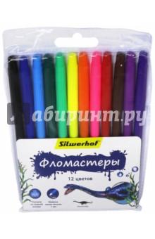 Фломастеры, 12 цветов ДИНОЗАВРЫ (877065-12) Silwerhof