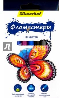 Фломастеры Бабочки (18 цветов) (867200-18)Фломастеры 18 цветов (15—20)<br>Набор фломастеров.<br>Товар предназначен для рисования по бумаге и картону.<br>В наборе 18 цветов.<br>Характеристики: <br>- корпус из полипропилена;<br>- чернила на водной основе;<br>- яркие цвета;<br>- вентилируемый колпачок.<br>Ширина линии письма: 1 мм.<br>Состав: полипропилен, фетр, чернила на водной основе.<br>Для детей от 3-х лет. Содержит мелкие детали.<br>Сделано в Китае.<br>