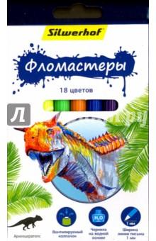 Фломастеры Динозавры (18 цветов) (867201-18)Фломастеры 18 цветов (15—20)<br>Набор фломастеров.<br>Товар предназначен для рисования по бумаге и картону.<br>В наборе 18 цветов.<br>Характеристики: <br>- корпус из полипропилена;<br>- чернила на водной основе;<br>- яркие цвета;<br>- вентилируемый колпачок.<br>Ширина линии письма: 1 мм.<br>Состав: полипропилен, фетр, чернила на водной основе.<br>Для детей от 3-х лет. Содержит мелкие детали.<br>Сделано в Китае.<br>