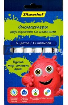 """Фломастеры двусторонние со штампами Neon """"Джинсовая коллекция"""" (6 цветов) (867211-06) Silwerhof"""