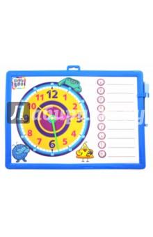 Доска-часы двусторонняя (с маркером, синяя) (62776)Сопутствующие товары для детского творчества<br>Игрушка развивающая - доска для рисования.<br>Изготовлено из пластмассы, с элементами из картона, с фломастером - маркером. <br>Содержит мелкие детали. Не рекомендовано детям младше 3-х лет.<br>Сделано в Китае.<br>