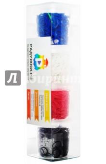 Комплект резиночек в стаканчиках №3 (1200 штук, синие, белые, красные, черные)