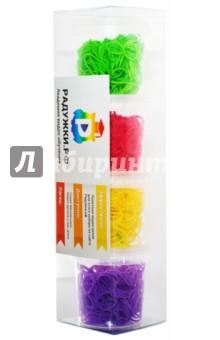 Комплект резинок для плетения №9 (1200 штук, красные, зеленые, фиолетовые, желтые)