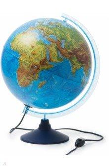 Глобус Земли физико-политический (D=320 мм, с подсветкой) (К(е)013200228)Глобусы<br>Глобус Земли физико-политический.<br>Диаметр 320 мм.<br>Подсветка.<br>Материал: пластик<br>Глобус с двойной картой. При выключенной подсветке - это глобус с  физической картой мира, при включенной подсветке проявляется политическая карта мира, т.е. видны границы государств, столицы, крупные города и дороги. Крым в составе РФ.<br>Карта на русском языке.<br>Возможно использование глобуса в качестве ночника.<br>Упаковка: фирменный пакет и картонная коробка.<br>Имеется переключатель подсветки на шнуре.<br>Сделано в России.<br>