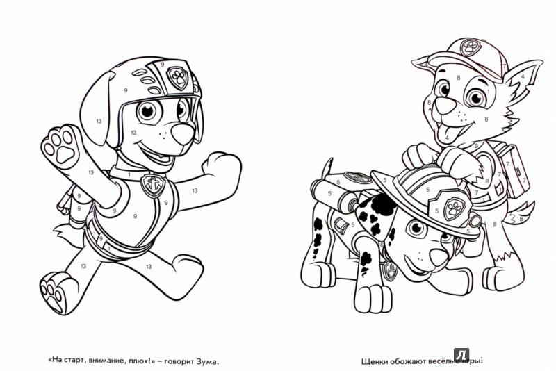 щенячий патруль раскраски по цифрам 5 лет для детей онлайн
