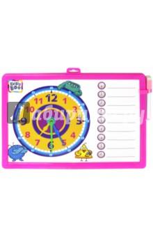 Доска-часы двусторонняя, с маркером. Розовая (62757)Сопутствующие товары для детского творчества<br>Развивающая игрушка доска-часы для рисования поможет ребенку освоиться с определением времени.<br>Маркер со стирающей губкой в комплекте. <br>Для детей от трех лет. <br>Произведено в Китае.<br>