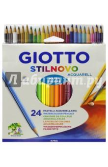 Карандаши акварельные Stilnovo (24 цвета) (255800)Цветные карандаши более 20 цветов<br>Карандаши акварельные.<br>В наборе 24 цвета.<br>Характеристики: <br>Яркие цвета;<br>Водорастворимый грифель;<br>Легко затачиваются;<br>Шестигранные, диаметр: 3,3 мм.<br>Для детей от 3-х лет, или ранее под присмотром родителей.<br>Сделано в Китае.<br>