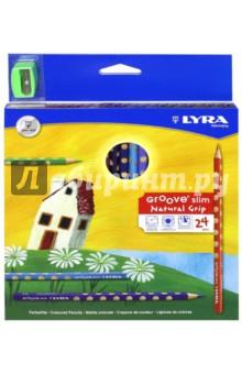 "Карандаши цветные ""Groove Slim"" (24 цвета, точилка) (L2821240) LYRA"