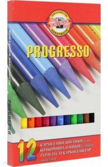 Карандаши  Progresso, 12 цветов (8756)Цветные карандаши 12 цветов (9—14)<br>Карандаши цветные.<br>Количество цветов: 12.<br>Без дерева.<br>Сделано в Чехии.<br>