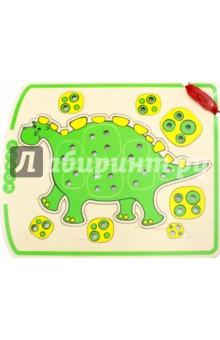 Шнурозаврик 1 (0-1522)Шнуровки из дерева<br>Игрушка Шнурозаврик развивает мелкую моторику, готовит руку к письму, формирует навыки счёта, восприятие размера больше-меньше, аналитическое мышление.<br>Перед использованием протереть сухой салфеткой.<br>Для детей от 3-х лет и старше.<br>Не рекомендовано детям до 3-х лет.<br>Сделано в Беларуси.<br>