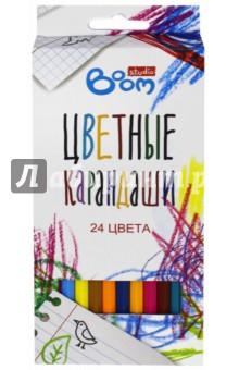 """Карандаши цветные шестигранные """"Studio"""", 24 шт. (BS-BCL24) Boom"""