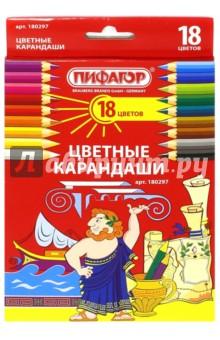 Карандаши (18 цветов) (180297)Цветные карандаши 18 цветов (15—20)<br>Цветные карандаши для рисования. <br>Изготовлены из высокосортной белой древесины и снабжены грифелем из натуральных материалов и пигментов.<br>Яркие насыщенные цвета, прочный грифель.<br>18 цветов. <br>Для детей старше 3-х лет.<br>Сделано в Китае.<br>