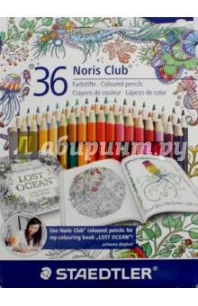 Карандаши Noris Club, 36 цветов, Johanna Basford (144 D36JB)Цветные карандаши более 20 цветов<br>Карандаши Noris Club, 36 цветов Johanna Basford.<br>Яркие насыщенные цвета.<br>Грифель не ломается и не крошиться при заточке. <br>Упаковка: блистер, картон.<br>Сделано в Германии<br>