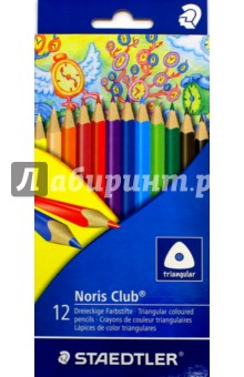 Набор карандашей цветных Noris Club, 12 цветов (1270C12)Цветные карандаши 12 цветов (9—14)<br>Набор карандашей цветных Noris Club, 12 цветов.<br>В трехгранном корпусе. <br>Упаковка: блистер.<br>