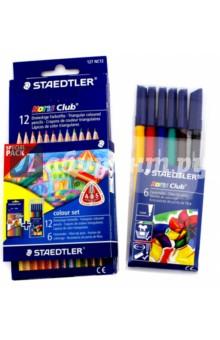 Набор. Цветные карандаши NorisClub - 12 шт. + Фломастеры - 6 шт. (NC326WP6)Цветные карандаши 12 цветов (9—14)<br>Набор цветных карандашей NorisClub - 12 цветов, с фломастерами - 6 цветов. <br>Упаковка: блистер.<br>