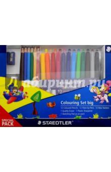 Набор для рисования: цв. карандаши, восковые мелки, фломастеры, точилка, ластик, альбом (61TCPL4)Наборы для рисования<br>Набор для рисования: <br>цветные карандаши - 12 шт., восковые мелки - 12 шт., фломастеры - 12 шт., точилка, ластик, альбом для рисования.<br>Упаковка: коробка.<br>