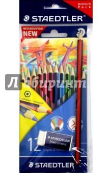 Набор цветных карандашей Wopex Staedtler, 12 цветов + чернографитный карандаш HB + ластик (185SET2)Цветные карандаши 12 цветов (9—14)<br>Набор цветных карандашей Wopex Staedtler, 12 цветов + чернографитный карандаш HB + ластик.<br>Яркие насыщенные цвета.<br>Грифель не ломается и не крошиться при заточке. <br>Упаковка: блистер.<br>