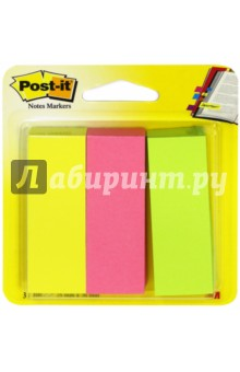 Закладки самоклеящиеся (22,2 мм, 3 цвета, 100 шт) (671-3) POST-IT