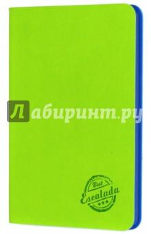 Записная книжка Салатовый (срез синий, 90х142 мм, 80 листов) (42599)Записные книжки средние (формат А6)<br>Записная книжка.<br>Количество листов: 80<br>Формат: 90х142 мм.<br>Внутренний блок: офсет, без линовки<br>Крепление: книжное (прошивка)<br>Переплет: гибкий<br>Ляссе.<br>Сделано в Китае.<br>