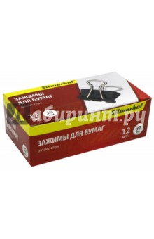 Зажимы для бумаг 32 мм, 12 штук, черный (510004) Silwerhof