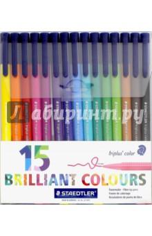 Набор фломастеров Triplus Сolor (15 цветов) (323TB15)Фломастеры 18 цветов (15—20)<br>Фломастеры.<br>Количество цветов: 15.<br>Линия письма: 1,0 мм.<br>Трехгранная форма. <br>Яркие цвета.<br>Сделано в Германии.<br>