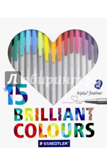 Набор капиллярных ручек Triplus 334 (15 цветов) (334C15H)Наборы капиллярных ручек<br>Капиллярные ручки.<br>Количество цветов: 15.<br>Линия письма: 0,3 мм.<br>Трехгранная форма. <br>Яркие цвета.<br>Сделано в Германии.<br>