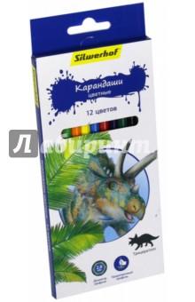 """Карандаши цветные """"Динозавры"""" (12 цветов) (134197-12) Silwerhof"""