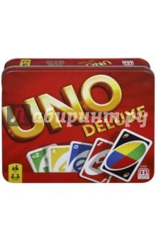 Игра Карточная, версия UNO люкс  (K0888)Карточные игры для детей<br>Это эксклюзивное издание классической игры UNO доставит огромное удовольствие как опытным любителям игры, так и новичкам!<br>Комплектность: 108 карт, карандаш, 1 блокнот для записи очков, инструкция.<br> Количество игроков: 2 - 10.<br>Возраст: 7+<br>Сделано в Китае.<br>