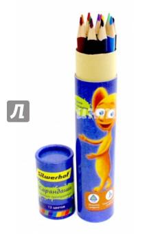 """Набор цветных карандашей в тубе """"Джинсовая коллекция"""". Трехгранный корпус. 12 шт. (134200-12) Silwerhof"""