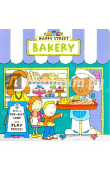 Happy Street: Bakery (board book)Литература на иностранном языке для детей<br>Happy Street is a highly collectible, new novelty pre-school series that offers huge possibilities for creative play. Children will love exploring all the different shops: they can cuddle the animals in Mr Paws  pet shop, shop at Miss Apple s supermarket, have an ice cream in Mrs Sponge s cafe or spend their pocket money in Mr Ted s toy shop. Each book in the Happy Street series focuses on a different shop - children can pop out the shop and play pieces after they ve enjoyed the story. Mr Crumb wakes up early to bake the tastiest bread. Help him serve his hungry customers and at the end of the day there s a special treat to deliver...<br>
