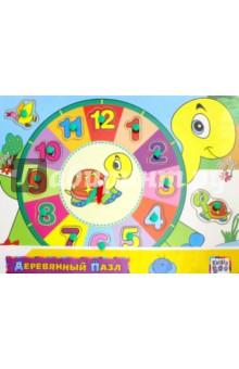 Деревянный пазл Черепашка с часами (62761)Обучающие игры-пазлы<br>Развивающая и обучающая игрушка.<br>Комплектность: деревянная доска, 14 съемных элементов. <br>Изготовлено из дерева, ламинированного бумагой с полимерной пленкой, с элементами из пластмассы. <br>Не рекомендовано детям младше 3-х лет. Содержит мелкие детали.<br>Для детей старше 3-х лет.<br>Сделано в Китае.<br>