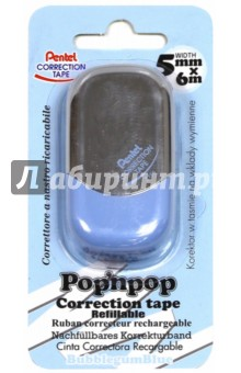 Лента корректирующая Pop'N Pop, 6мх5мм,голубая (ZTF5-S) Pentel