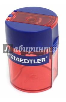 Точилка Staedtler с контейнером для стружки - 1 отверстие (511006)Точилки<br>Точилка с контейнером для стружки - 1 отверстие.<br>Цветной пластиковый корпус - красный.<br>Сделано в Германии.<br>